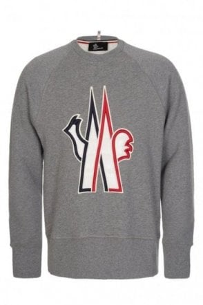 Moncler Grenoble Oversized Padded Chest Logo Sweatshirt Grey