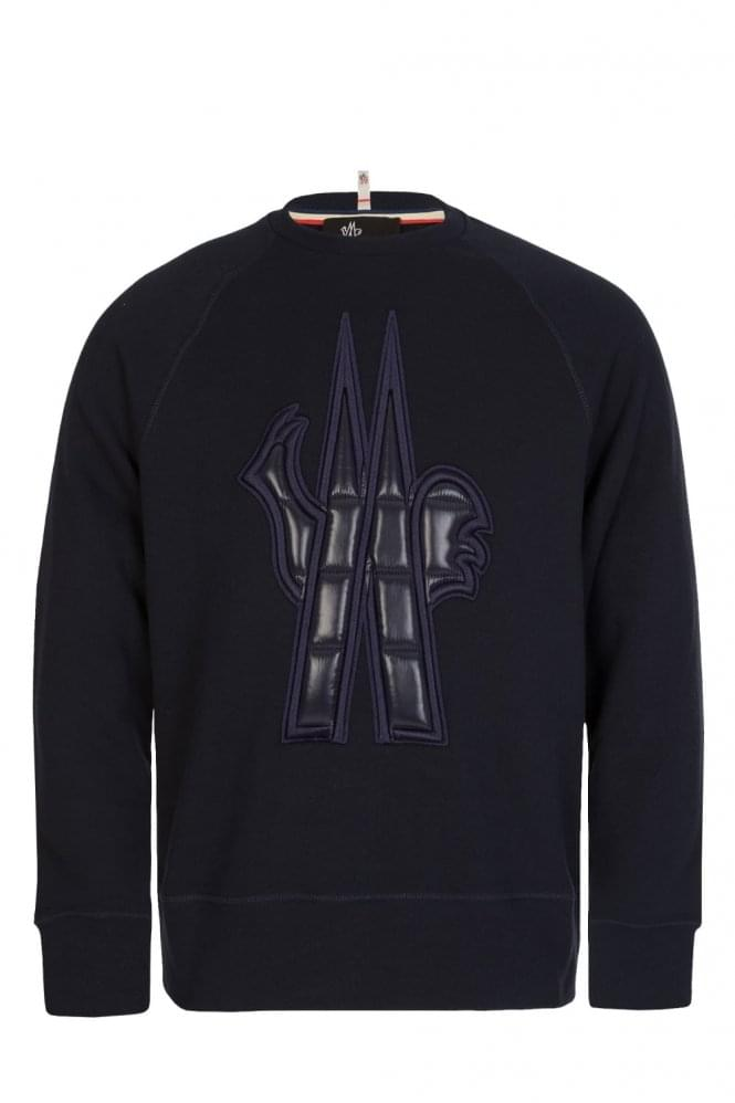MONCLER Grenoble Oversized Padded Chest Logo Sweatshirt Navy