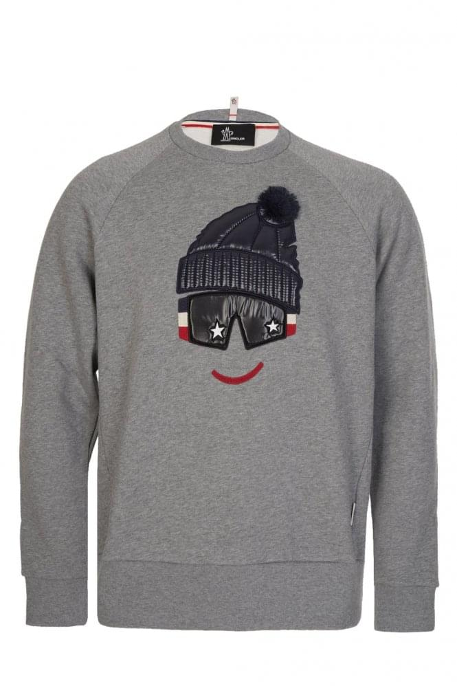 MONCLER Grenoble Padded Chest Motif Sweatshirt Grey