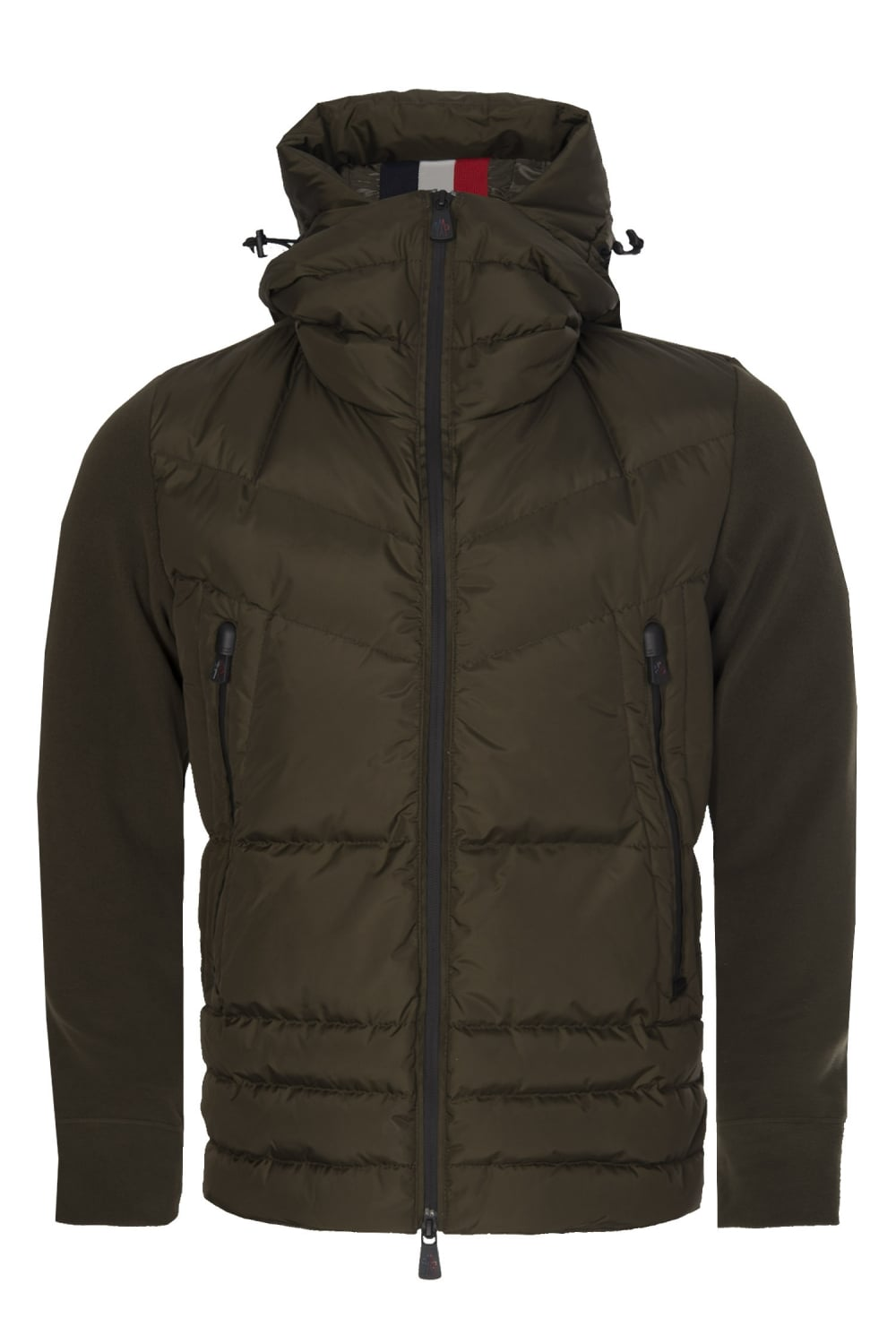 f04fb812a253 Moncler Grenoble Quilted Front Zip Hooded Jacket Khaki