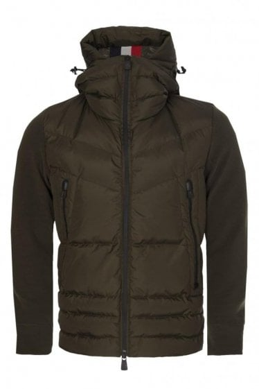 Moncler Grenoble Quilted Front Zip Hooded Jacket Khaki