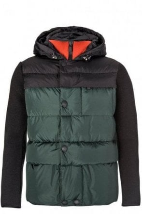 Moncler Grenoble Two-tone Mixed Fabric Hooded Jacket