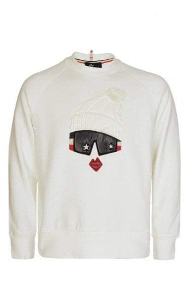 Moncler Grenoble Women's Padded Chest Motif Sweatshirt White