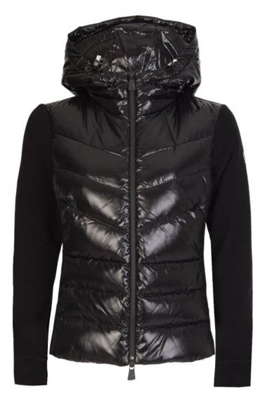 Moncler Grenoble Women's Quilted Front Lightweight Zip Hoodie Black