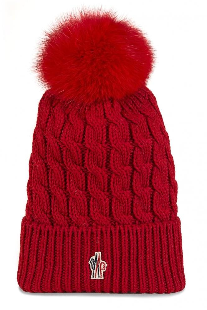MONCLER Grenoble Women's Ribbed Fur Bobble Beanie Red