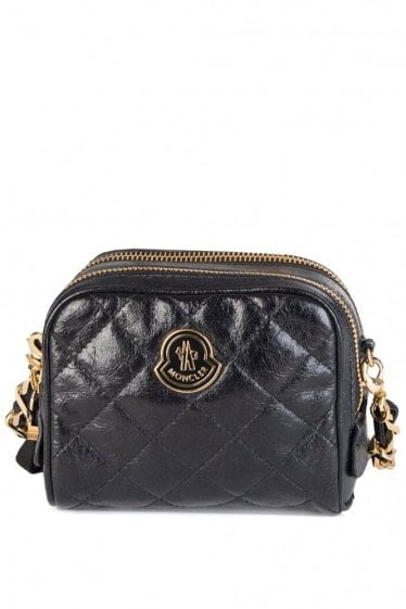 Moncler Luisa Leather Crossbody Double Zip Bag Black