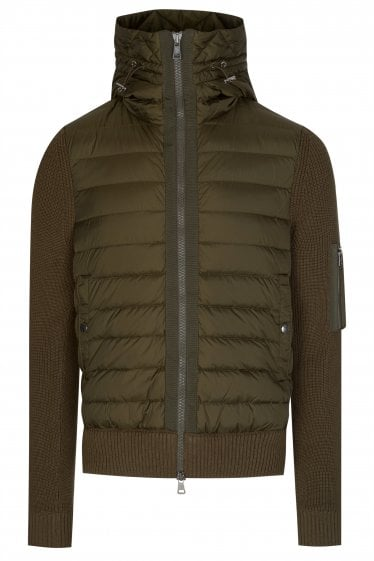 Moncler Nylon Front Hooded Knitwear Jacket