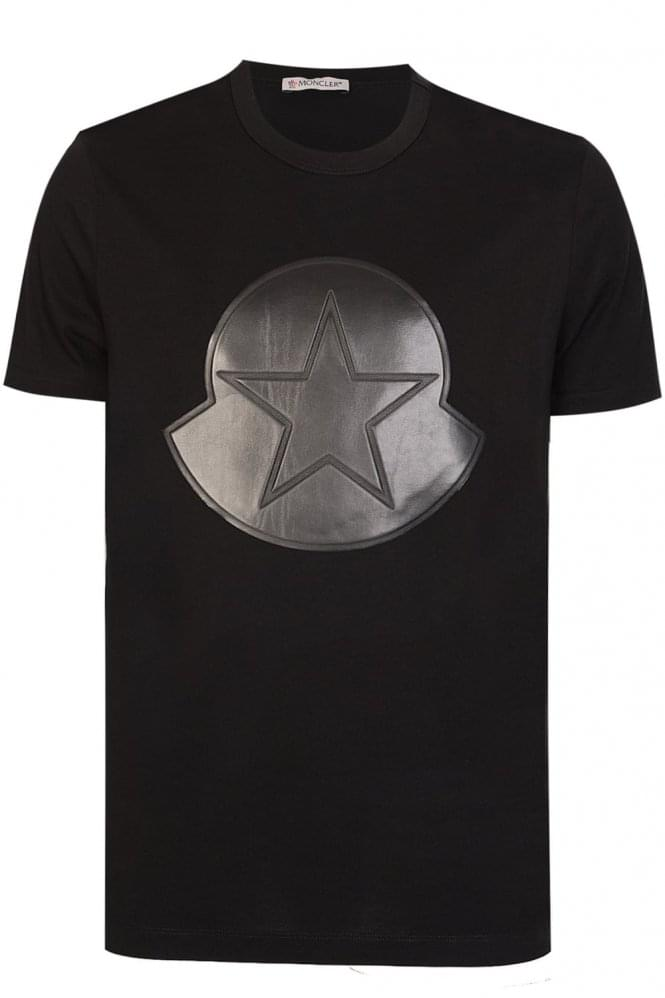 moncler oversized logo star motif t shirt black. Black Bedroom Furniture Sets. Home Design Ideas