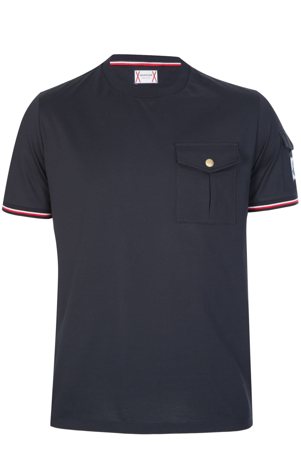 moncler sleeve chest pocket t shirt navy. Black Bedroom Furniture Sets. Home Design Ideas