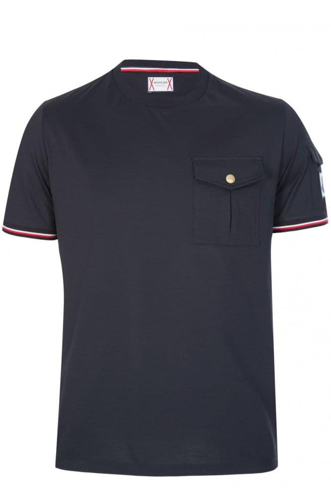 MONCLER Sleeve + Chest Pocket T-Shirt Navy