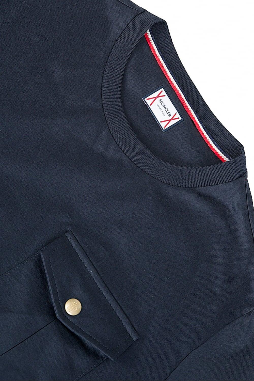 Moncler T Navy Sleeve Shirt Chest Pocket WwqZUw0Y