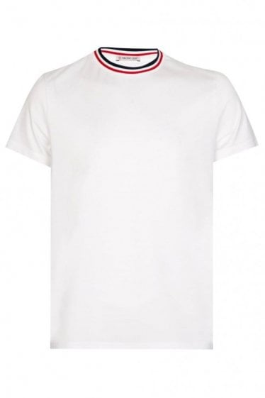 Moncler Stripe Collar Tshirt White