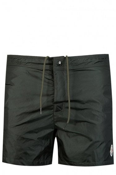 Moncler Striped Nylon Swim Shorts Khaki