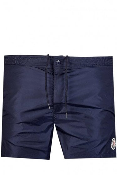Moncler Striped Nylon Swim Shorts Navy