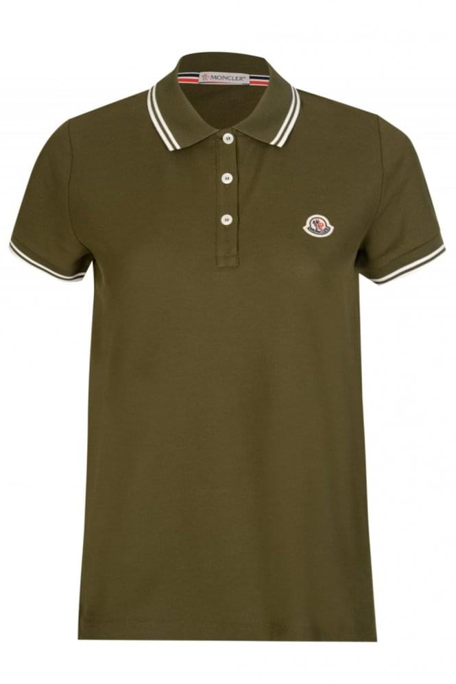 MONCLER Women's Classic Short Sleeved Polo Khaki