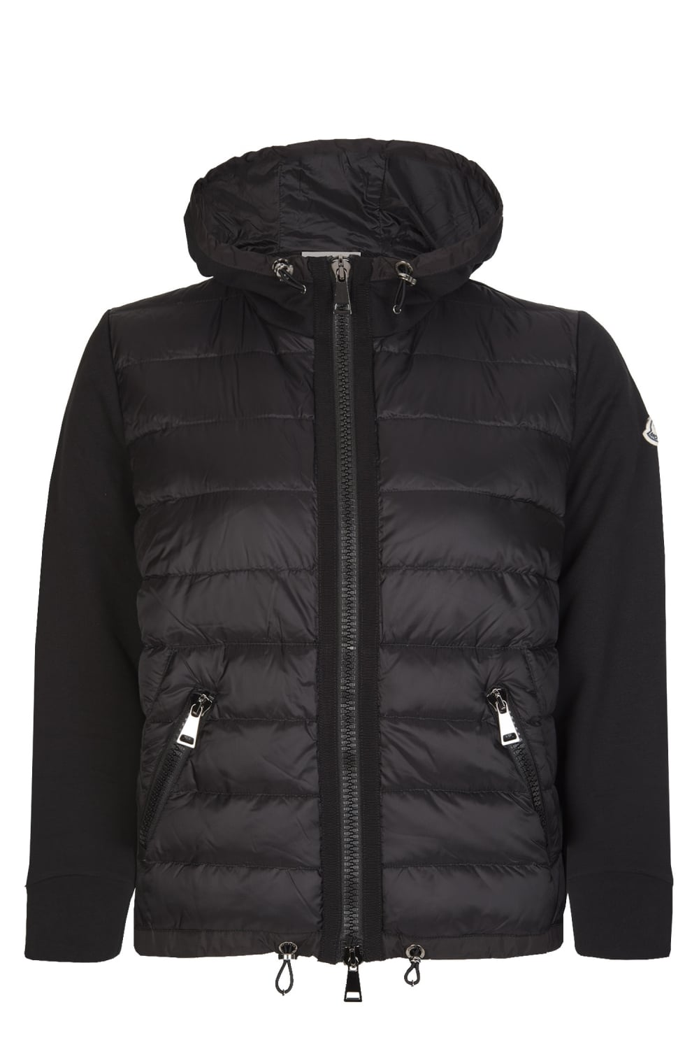 Moncler Women S Mixed Fabric Hooded Jacket Black