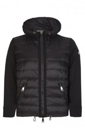 Moncler Women's Mixed Fabric Hooded Jacket Black