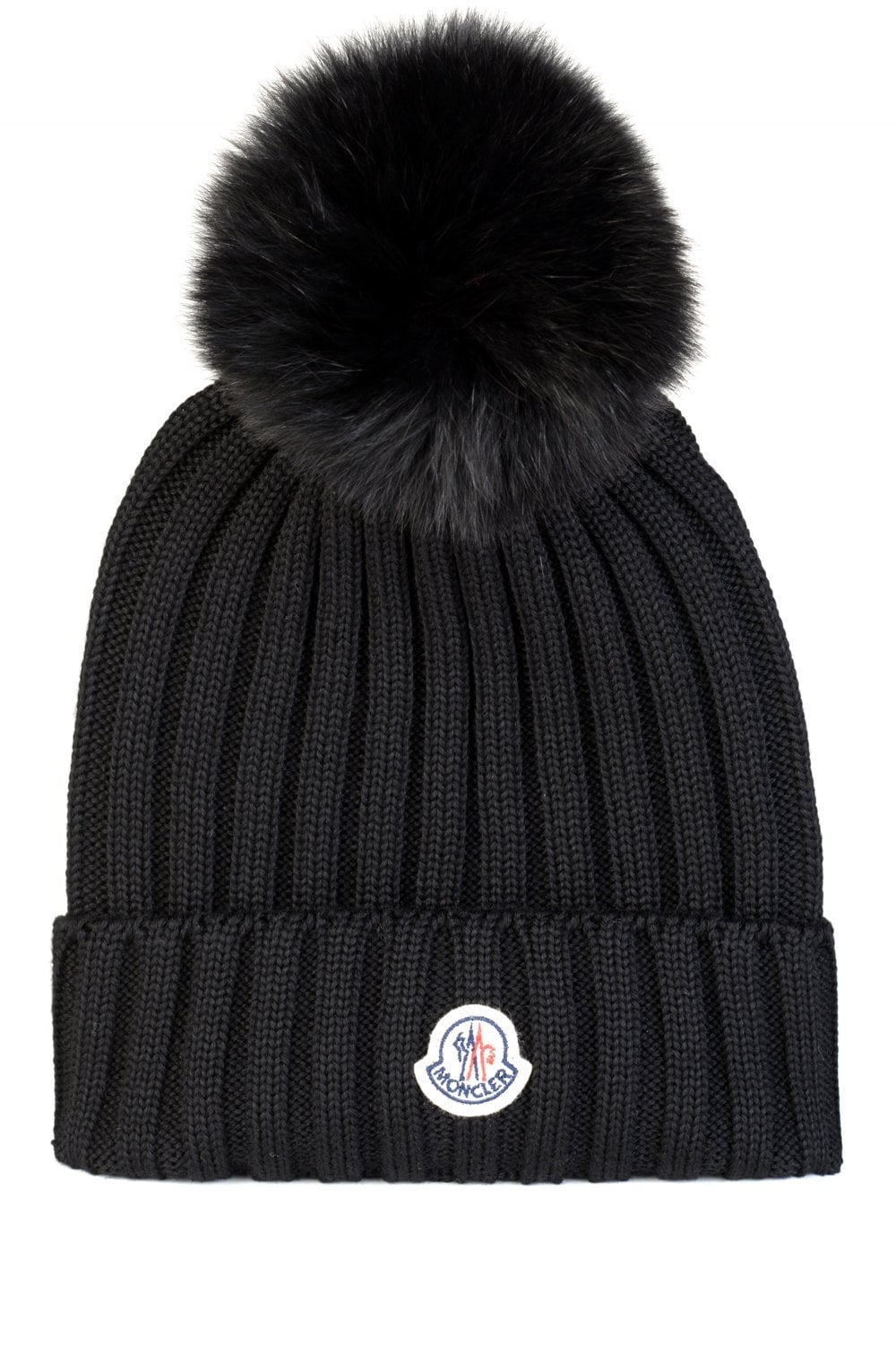 Moncler Women s Ribbed Fur Bobble Beanie Black 285a9f6f8f7
