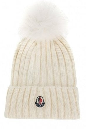 Moncler Women's Ribbed Fur Bobble Beanie Cream