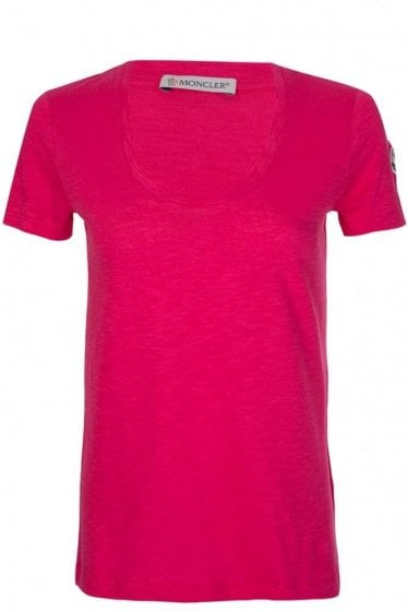 Moncler Women's Scoop Neck T-Shirt Pink