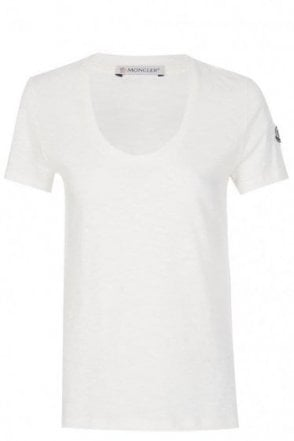 Moncler Women's Scoop Neck T-Shirt White