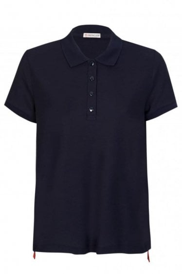 Moncler Womens Tape Hem Polo Navy