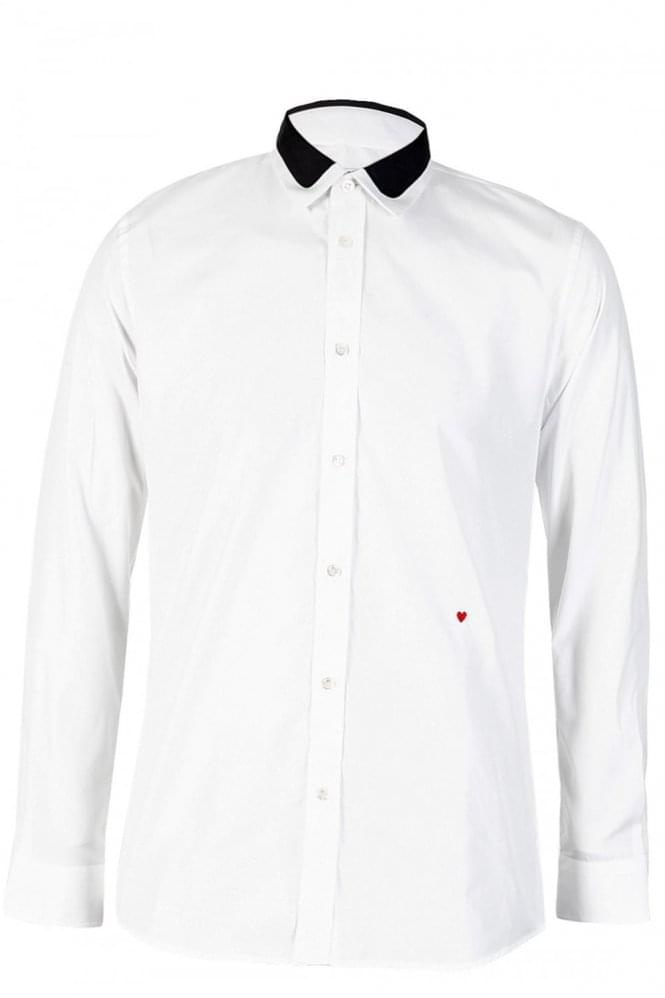 MOSCHINO Contrast Collar Design White Shirt