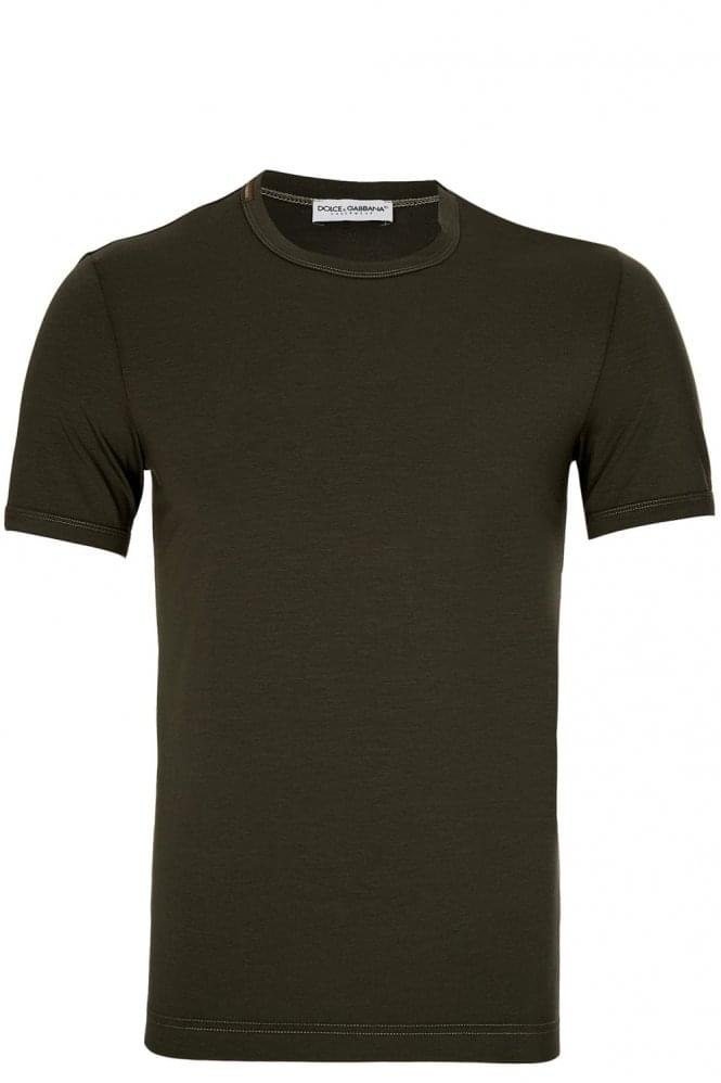 DOLCE & GABBANA Neck Logo Cotton T-Shirt Green