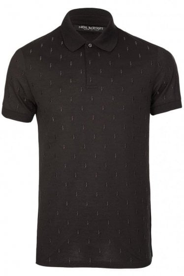 Neil Barrett All Over Lightening Bolt Polo Black