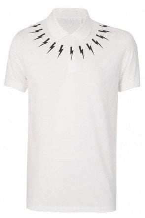 Neil Barrett Lightening Bolt Polo White
