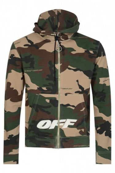 Off White Camouflage Cotton Zipped Hooded Top