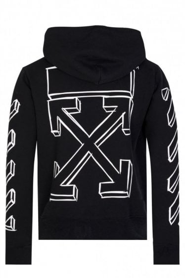 Off-White Diagonal Marker Arrows Hooded Top Black