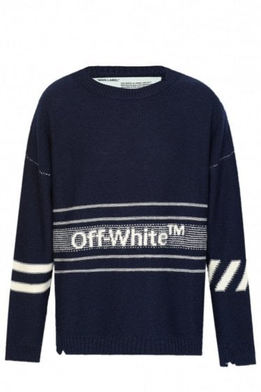 Off-White Knitted Logo Sweat Navy