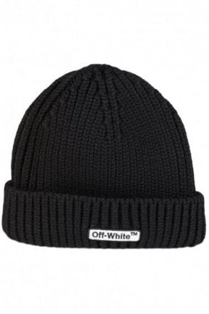 Off-White Logo Embroidered Beanie Black