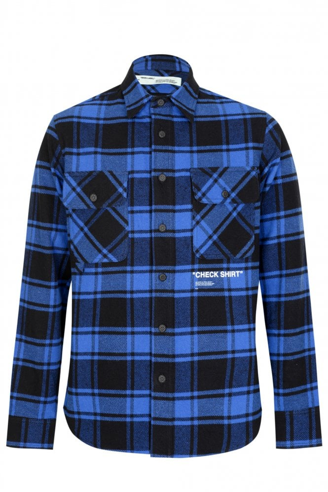 OFF WHITE Off-White Quote Flannel Shirt Blue