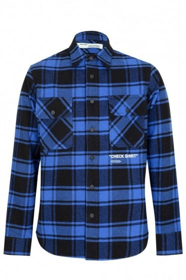 Off-White Quote Flannel Shirt Blue