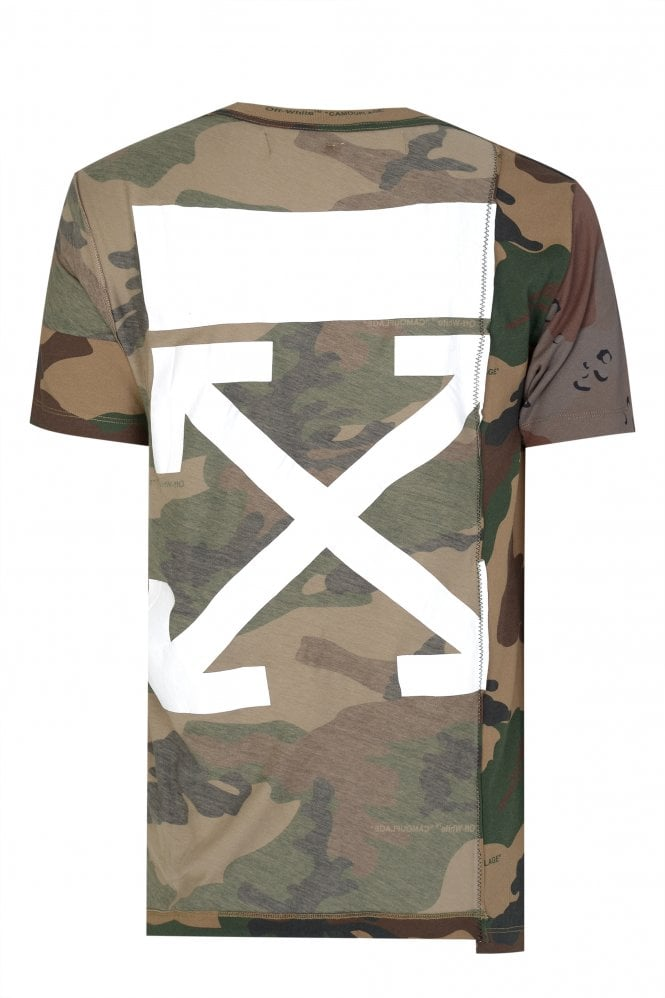 Off White Reconstructed Camouflage T-shirt