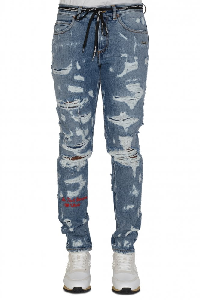OFF WHITE Off-White Slim-Leg Distressed Jeans
