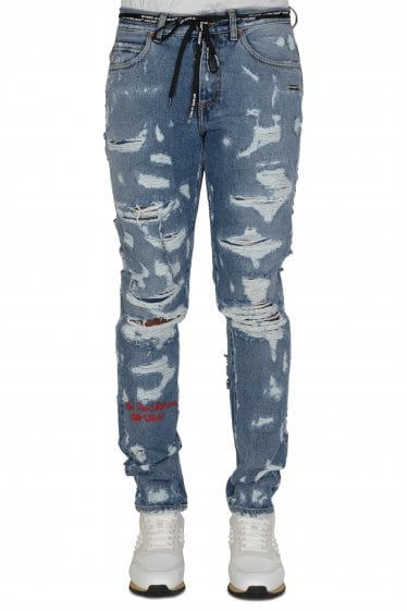 Off-White Slim-Leg Distressed Jeans
