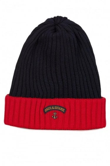 Paul and Shark Contrast Trim Beanie Navy/Red
