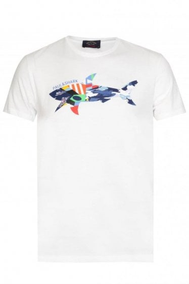 Paul & Shark Chest Print Tshirt White