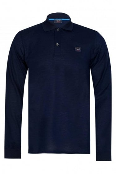 Paul & Shark Classic Long Sleeved Polo Navy