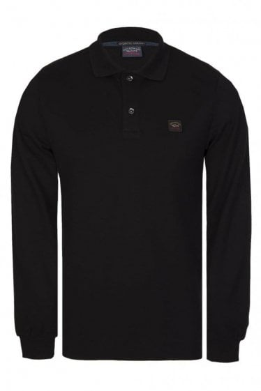 Paul & Shark Long Sleeved Logo Polo Black