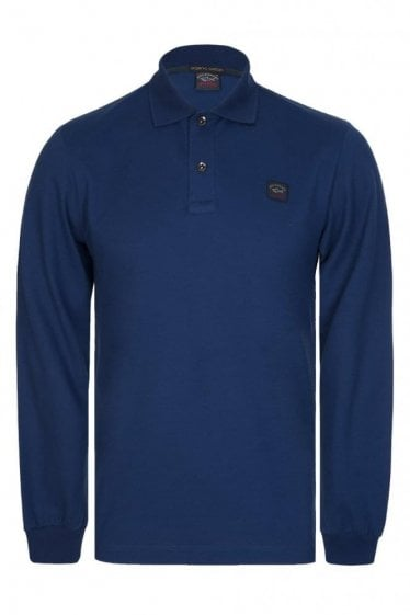 Paul & Shark Long Sleeved Logo Polo Blue