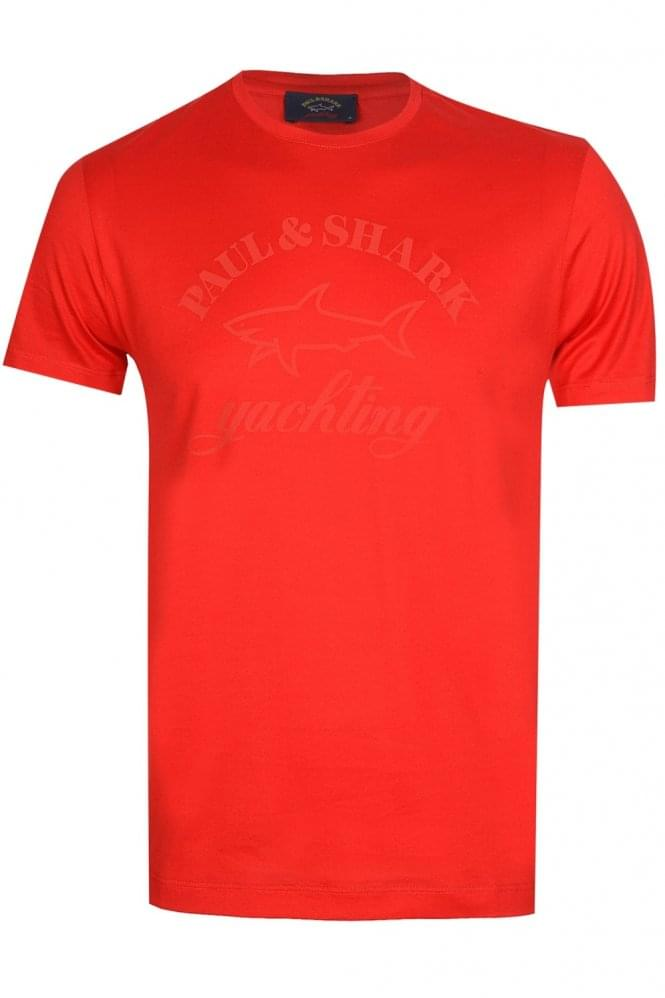 PAUL & SHARK Oversized Logo T-shirt Shark Fit Red