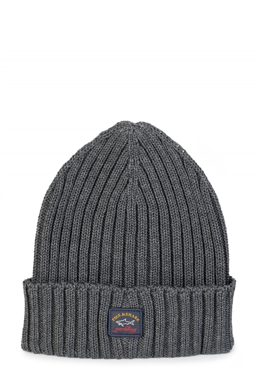 Paul   Shark Ribbed Logo Beanie Hat Grey c86a75f39b64