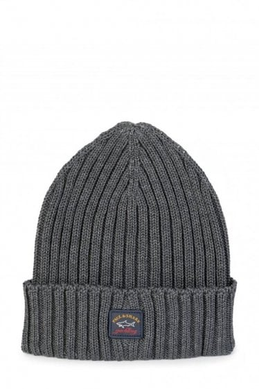 Paul & Shark Ribbed Logo Beanie Hat Grey