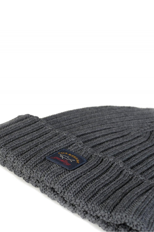 5237e131 Paul & Shark Ribbed Logo Beanie Hat Grey