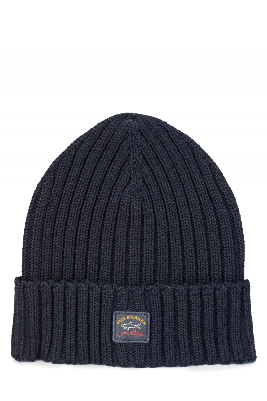 Paul   Shark Ribbed Logo Beanie Hat Navy 55584443f8c3