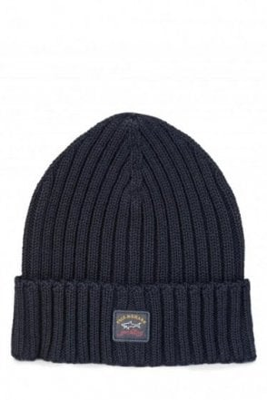 Paul & Shark Ribbed Logo Beanie Hat Navy